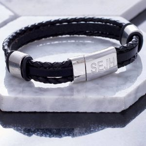 Personalised Jet Black Leather Bracelet - Personalised Mens Leather Bracelet. Engraved Message Personalised Free. Handmade leather bangle gift for men.