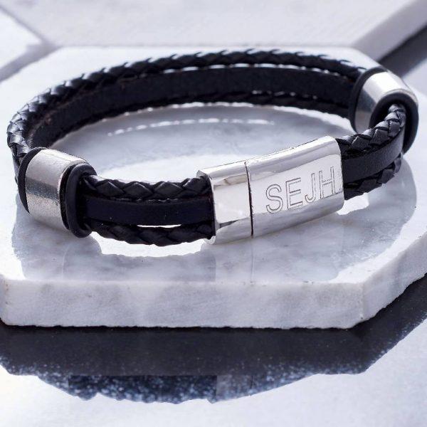 Personalised Jet Black Leather Bracelet - Personalised Mens Leather Bracelet. Engraved Message Personalised Free. Handmade leather bangle gift for men.