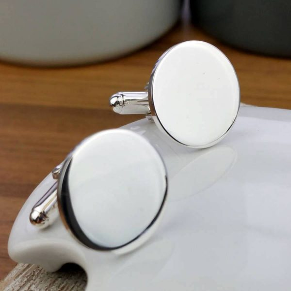 Personalised Round Silver Cufflinks For Men, Hallmarked Sterling Silver, Designed & Handmade To Order by our Silversmithing & Cufflink team. Gift Wrap Available