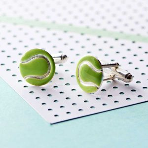 Tennis Cufflinks For Men. Handmade Tennis Ball Cufflinks In Hallmarked Sterling Silver & Enamel. Wimbledon Cufflinks for Tennis Fans with Gift Wrapping & Swift Delivery.
