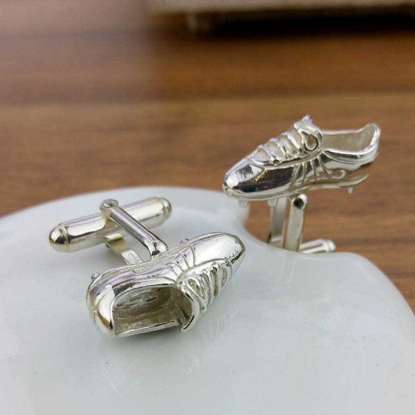 Silver Football Boot Cufflinks For Men & Football Players, Hallmarked Silver & Handmade by our Silver Cufflink team. Gift Wrap our Football Boot Cufflinks.