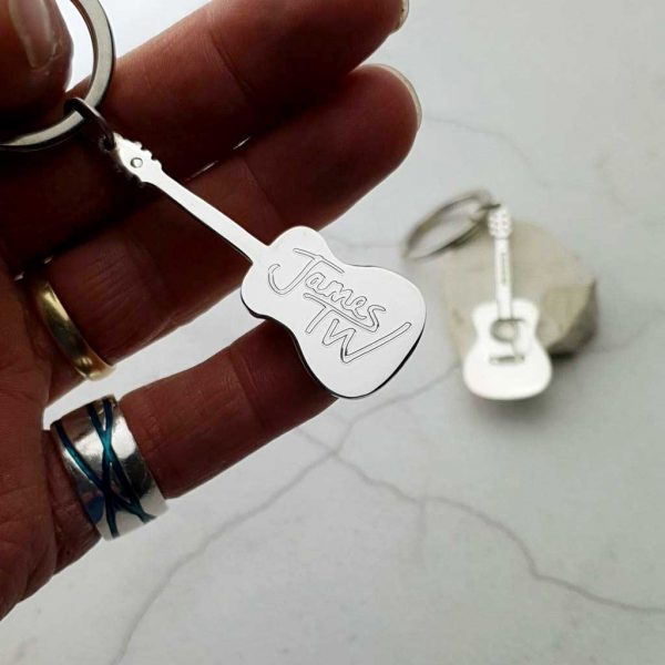 Acoustic Guitar Personalised Silver Keyring. Personalised Keyring With Engraved Message. Handmade & Hallmarked Acoustic Guitar Gift For Guitar Players.