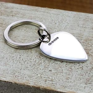 Guitar Pick Personalised Silver Keyring. Personalised Keyring With Engraved Message. Handmade & Hallmarked Guitar Plectrum Gift For Guitar Players.