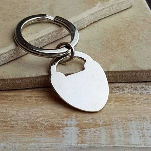 Heart Padlock Personalised Silver Keyring. Personalised Heart Padlock Keyring With Engraved Message. Handmade & Hallmarked Love Token Keyring Gift.