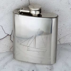 Neat Galway Hooker Hip Flask Personalised with FREE Engraving. 3oz Hip Flask with Galway Hooker Engraving & Capture Top. Gift Wrap, Funnel & Box Upgrades.
