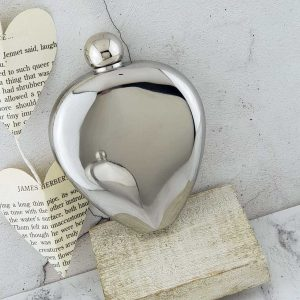 Heart Shaped Personalised Valentine Hip Flask in Presentation Box. Love Hip Flask for Valentine's Day, Wedding, Bride, Bridal Party, Bridesmaid, Hen Party & Father's Day.