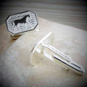 Horse Cufflinks For Galway Races. Horse Racing Silver Cufflinks Hallmarked Sterling Silver & Handmade To Order by our Silver Cufflink team. Gift Wrap Available.