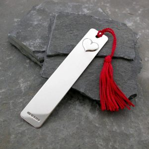 Heart Personalised Silver Bookmark with red tassel. Handmade, hallmarked, sterling silver personalised bookmark. Can be personalised with engraved message.
