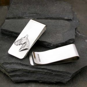 Personalised Horse Silver Money Clip & Engraved Horse Racing Money Clip. Hallmarked Silver, Handmade with FREE Engraving, ideal for Galway Races & Horse Racing