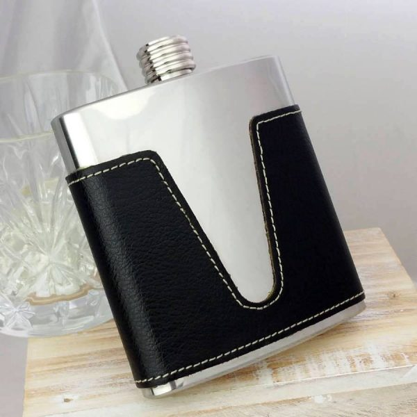Personalised Leather Hip Flask with V Detail & FREE ENGRAVING. 6oz Stainless Steel & Leather Hip Flask for Outdoors, Countryside, Sporting Events & Weddings.
