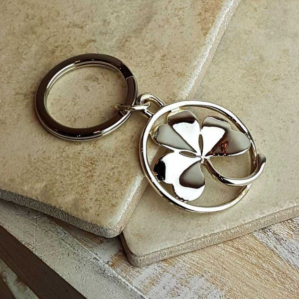 Lucky Shamrock Silver Keyring. Irish Silver Keyring To Bring Luck At The Galway Races for the Irish Man In Your life. Quality Hallmarked Silver Handmade Keyring.