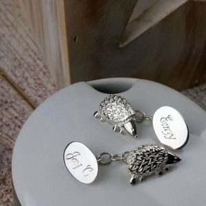 Hedgehog Cufflinks Personalised In Silver. Hedgehog Personalised Silver Cufflinks, Hand Made & Hand Engraved in Hallmarked Sterling Silver by our Cufflink Team