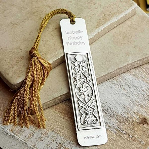 Art Nouveau Bookmark - Personalised Silver Art Nouveau Bookmark. Handmade, hallmarked, sterling silver personalised bookmark. Personalise with engraved message.
