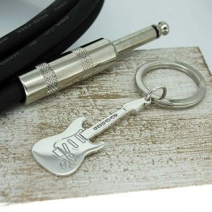 Electric Guitar Personalised Silver Keyring. Personalised Keyring With Engraved Message. Handmade & Hallmarked Electric Guitar Gift For Guitar Players.