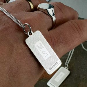 Silver Dog Tags For Men Personalised with Engraved Initials on Sterling Silver Chain. Silver Mens Dog Tag Necklace & Pendant with FREE ENGRAVING & Gift Wrap.