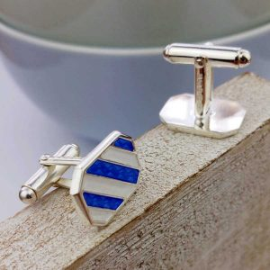 Nautical Cufflinks - Nautical Stripe Silver Cufflinks with Nautical Blue and White enamel detail. Hallmarked Sterling Silver in Cufflink Box. Optional gift wrap.