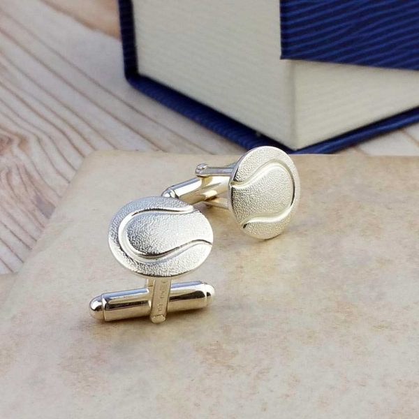 Tennis Ball Cufflinks For Men In Sterling Silver. Handmade & Hallmarked Tennis Ball Cufflinks. Cufflinks for Wimbledon & Tennis Fans with Gift Wrapping.