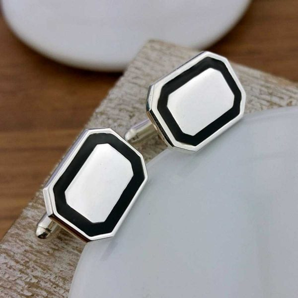 Personalised Black Tie Cufflinks In Sterling Silver with Black Enamel. Handmade, Hallmarked Personalised Engraved Black Tie Silver Cufflinks in Cufflink Box. Optional Gift Wrap.