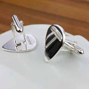 Personalised Guitar Pick Silver Cufflinks For Guitar Players. Handmade & Hallmarked Sterling Silver Personalised Plectrum Cufflinks for Guitarists.