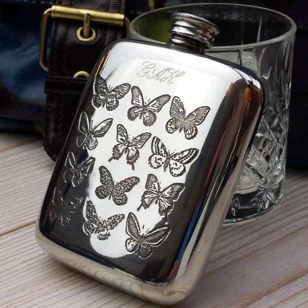 Ladies Personalised Butterfly Hip Flask with Engraving. Butterfly Personalised Hip Flask for Valentine's Day, Wedding, Bride, Bridal Party, Bridesmaid & Hen Party.
