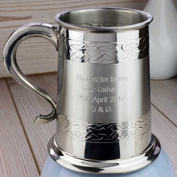 Personalised Wedding Party Celtic Embossed Tankard for Groom, Ushers & Father Of The Bride. Handmade Tankard For Irish Weddings with Presentation Box & Gift Wrap.