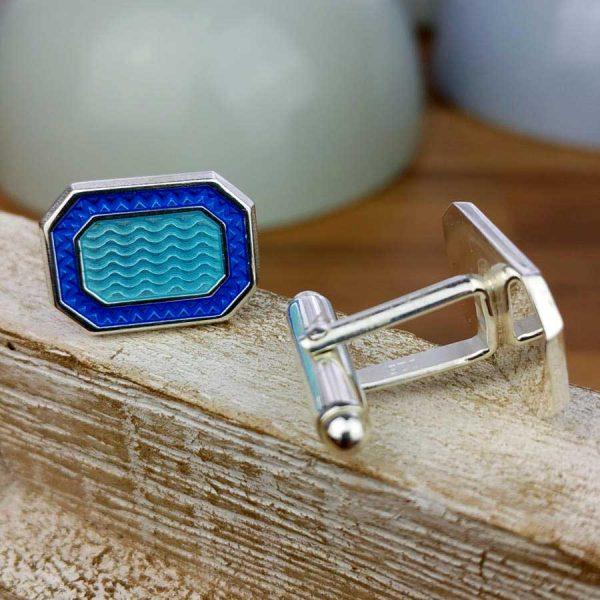 Galway Bay Nautical Cufflinks - Silver And Blue Galway Bay Seaside Nautical Cufflinks. Handmade & Hallmarked Sterling Silver in Cufflink Box. Optional gift wrap.