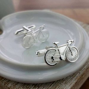 Bicycle, Bike, Cycling Silver Cufflinks For Men & Cyclists, Hallmarked Silver, Handmade by our Silver Sports Cufflink team. Gift Wrap our Bicycle Silver Cufflinks.