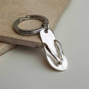 Silver Sandal Keyring & Sandal Keychain in Hallmarked Sterling Silver. Handmade Silver Keyring for Birthday, Mothers Day & Anniversary with Gift Wrapping.