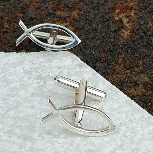 Ichthys Fish Cufflinks In Hallmarked Sterling Silver