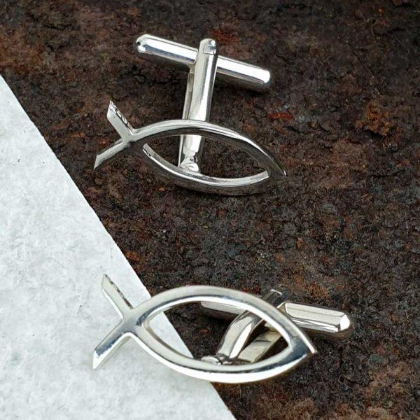 Ichthys Christening Cufflinks & Wedding Cufflinks For Men. Ichthys Cufflinks Handmade in Hallmarked Silver. Christian Ichthus Christening & Wedding Cufflinks.