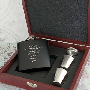 Personalised Matt Black Dad Hip Flask Gift Set with Free Enraving