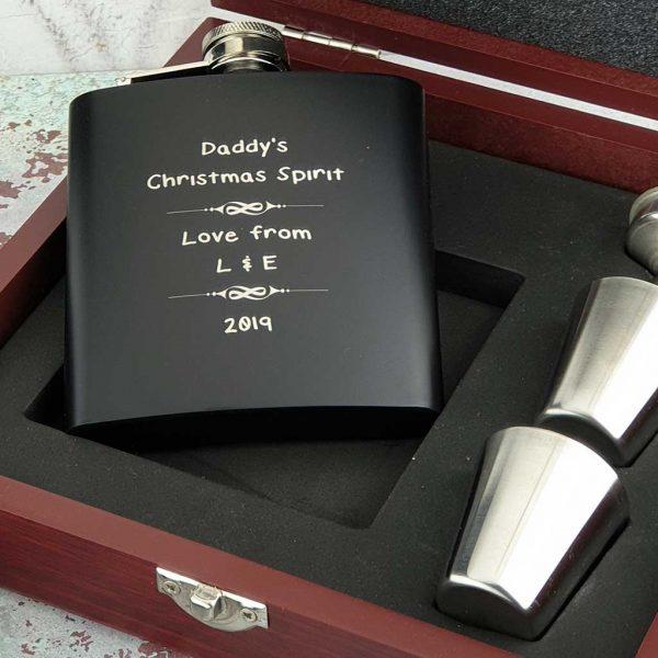 Personalised MattPersonalised Matt Black Dad Hip Flask Gift Set with Free Enraving