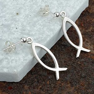 Ichthys Earrings In Silver For Wedding, Bridesmaid & Christening