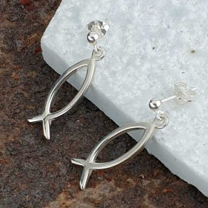 Ichthys Fish Earrings In Hallmarked Sterling Silver