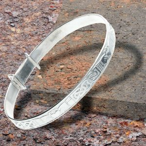 Personalised Claddagh Expander Bangle In Sterling Silver