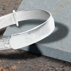Personalised Claddagh Christening Bangle In Sterling Silver. Irish Christening Baby Bangle with Celtic Claddagh Design.