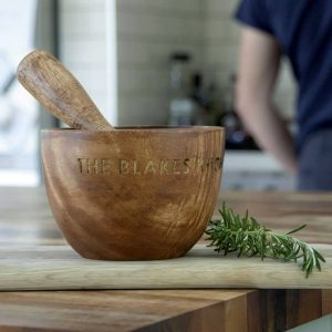 Personalised Mortar And Pestle in Acacia Wood