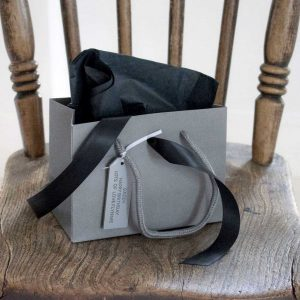 Dark Grey Gift Bag with a Choice Of Coloured Tissue Paper and Matching Ribbon with Personalised Gift Tag