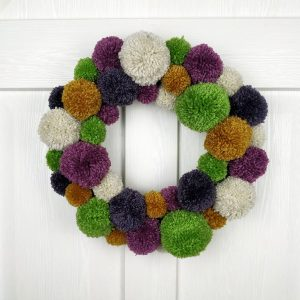 Green and Plum Winter PomPom Handmade Christmas Wreath