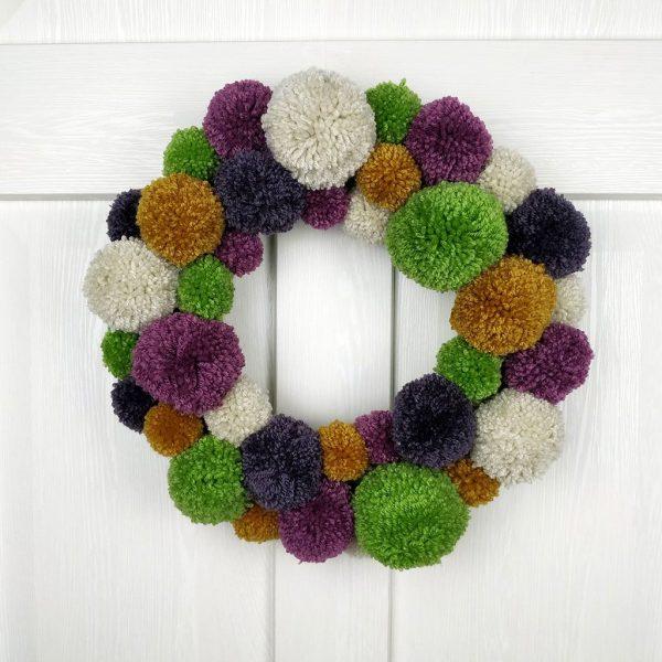 Green and Plum Winter PomPom Handmade Christmas Wreath