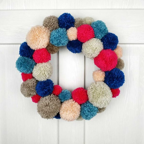 Handmade Christmas Wreath & Christmas Garland In Pink & Blue Pom Pom. Handmade Home Decor & Christmas Door Decoration. Limited Edition Home Decor!