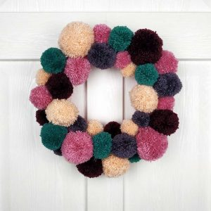 Exclusive Christmas Wreath & Christmas Garland In Pink & Blue Pom Pom. Handmade Home Decor & Xmas Door Decoration. Limited Edition Home Decor!