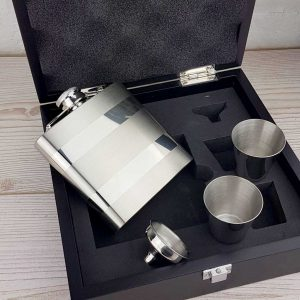 Personalised Hip Flask Gift Set. Hip Flask with lovely Satin & Polished finish, Two Cups, a Filling Funnel & Presentation Box. PLUS Free Engraving and Optional Gift Wrapping.