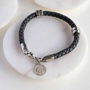 Personalised St Christopher Mens Leather Bracelet