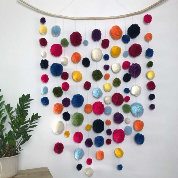 Handmade Pom Pom Wall Art Garland. Handmade, Interior Design, Home Deco for Nurseries, Bedrooms, Playrooms, Guest Room & Office. Large - 1.2mx1.4m
