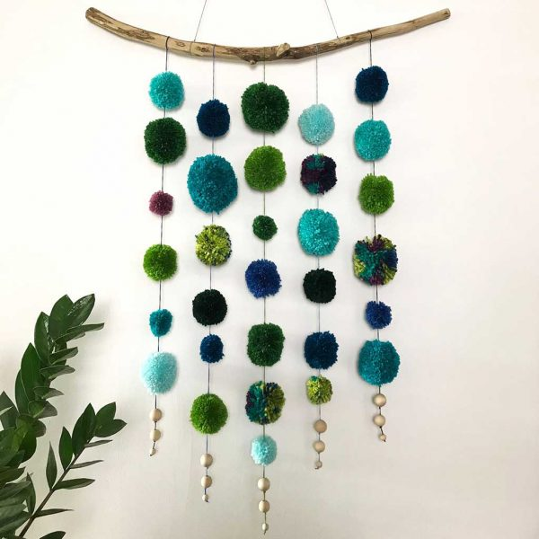Home Decor Handmade Pom Pom Garland. Handmade, Interior Design, Finishing Touches for Nurseries, Bedrooms, Playrooms, Guest Room & Office. Medium Size.