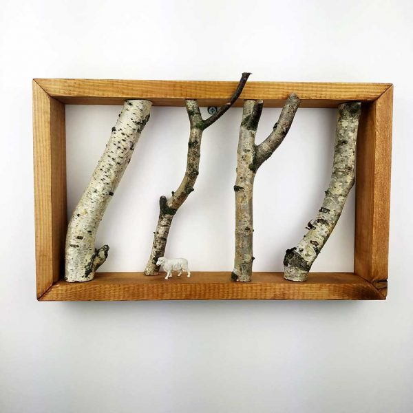 White Birch Forest Wall Art with Pine Frame. Unique Handmade Wall Art, Interior Design, Home Deco made from Polish Forest Birch Trees.