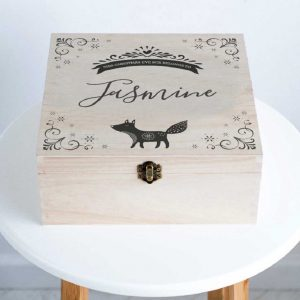Fox Christmas Eve Box For Girls & Boys Personalised with Name - Fox Christmas Eve Box Engraved with Name of Child, Children, Boy, Girl or Grandchild.