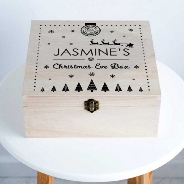 Personalised Christmas Eve Box For Boys & Girls - Santa Christmas Eve Box Personalised For Child, Children, Boys, Girls & Grandchildrens Name with 12 Letters