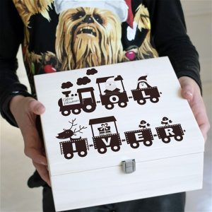 Christmas Eve Box - Personalised Train Christmas Eve Box For Kids. Personalised & Engraved with up to 6 Letters. Perfect For Santa. Optional gift wrapping.